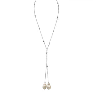 Zirconmania - Zirconite by the Yard Lariat Finished with Two Extra Large Genuine Baroque, Fresh Water Pearls Necklace, Lariat Rose Gold Chain with Pink Pearls - LNKX36P
