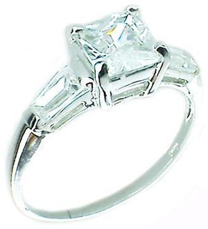 1Ct Bezel Sq Rd Melee Rhodium  Sterling silver Ring
