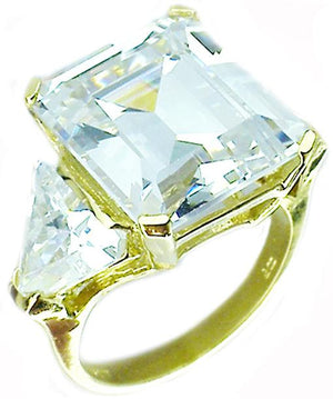 Ring with 2Ct Em Canary & Amp 2 Tr S/S