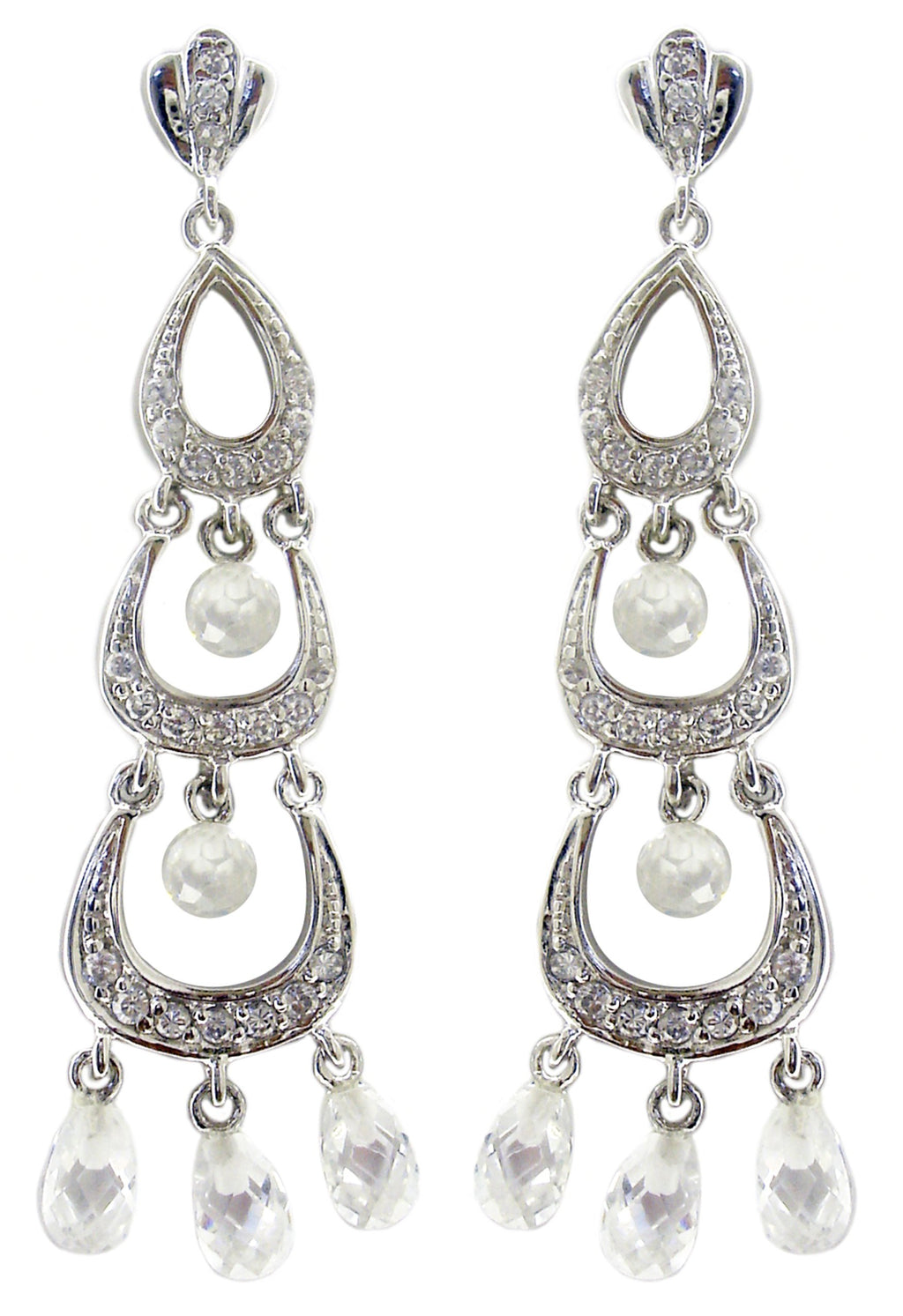 Three tier graduated half moon earrings with dangling crystal faceted glass stones STE150