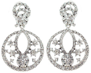 Earring Post Clip Double Pave Circle Flowers
