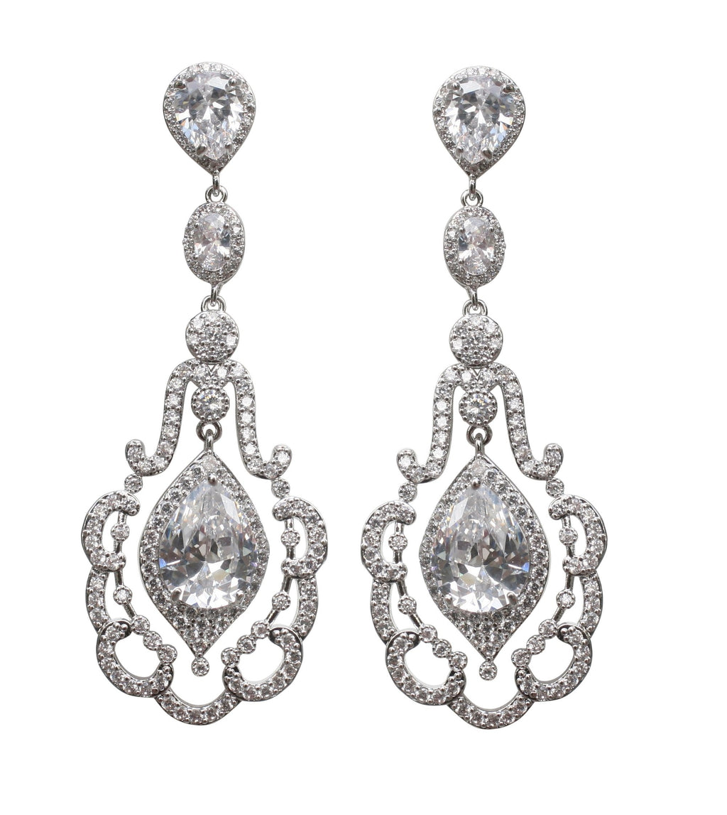 Couture Vintage inspired Chandelier Post earrings with Clear Zirconite Pear drop ,finished in electroplated Rhodium