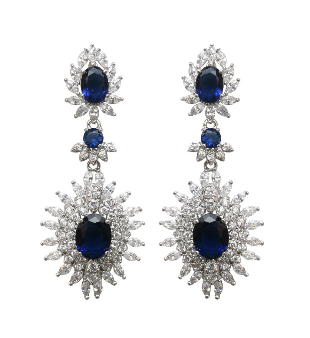 Elegant Style Couture Zirconite Oval Drop Post Earrings