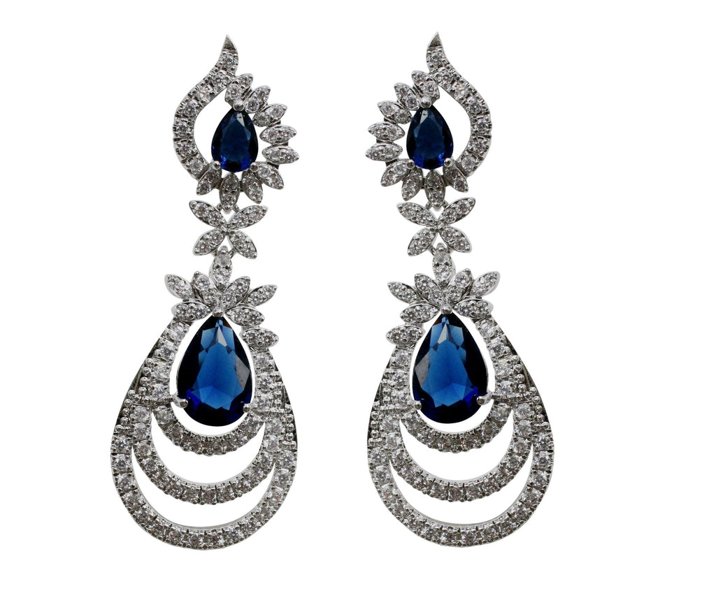 Important Couture Post Earring with Pear centered Zirconite Sapphire