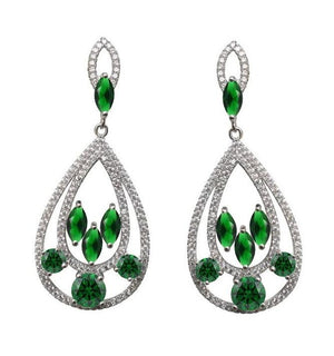 "Elegant Style Couture Zirconite Marquise&Rounds ""Door knocker""  Post Earrings"