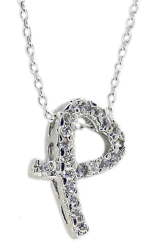 LOVELY CURVED OPEN HEART PENDANT EMBELLISHED WITH CUBIC ZIRCONIA STONES