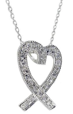 STERLING SILVER HEART PENDANT WITH CROSSED RIBBON ENDS EMBELLISHED WITH CUBIC ZIRCONIA STONES