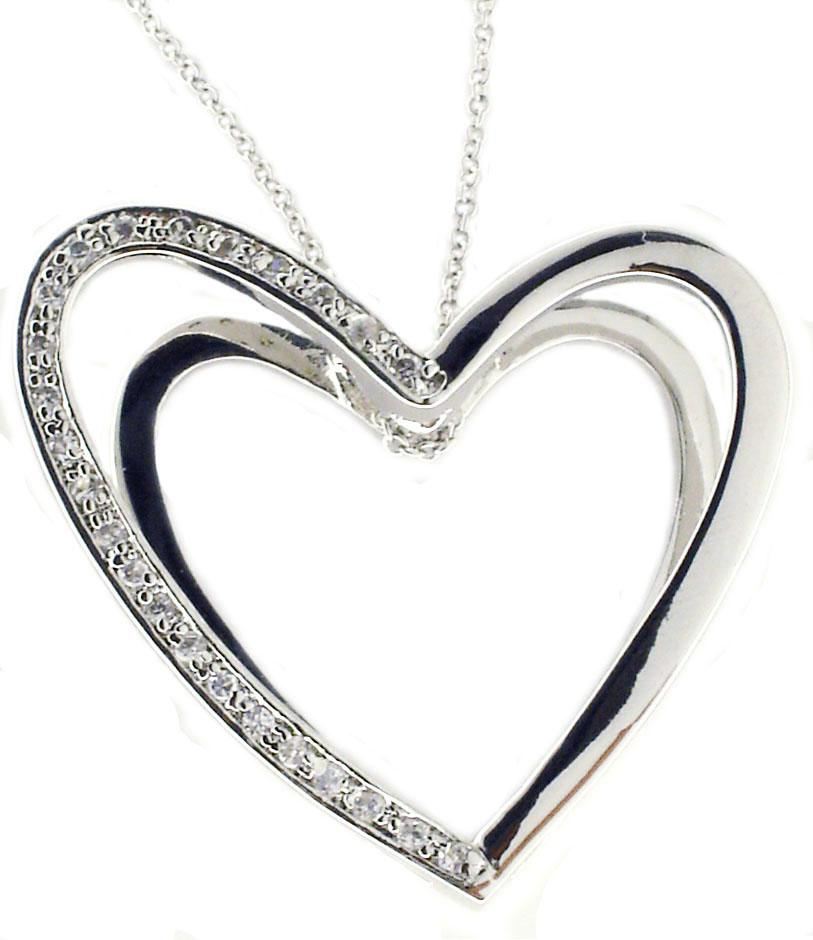 DOUBLE DIMENSION CUBIC ZIRCONIA PAVE HEART PENDANT IN STERLING SILVER