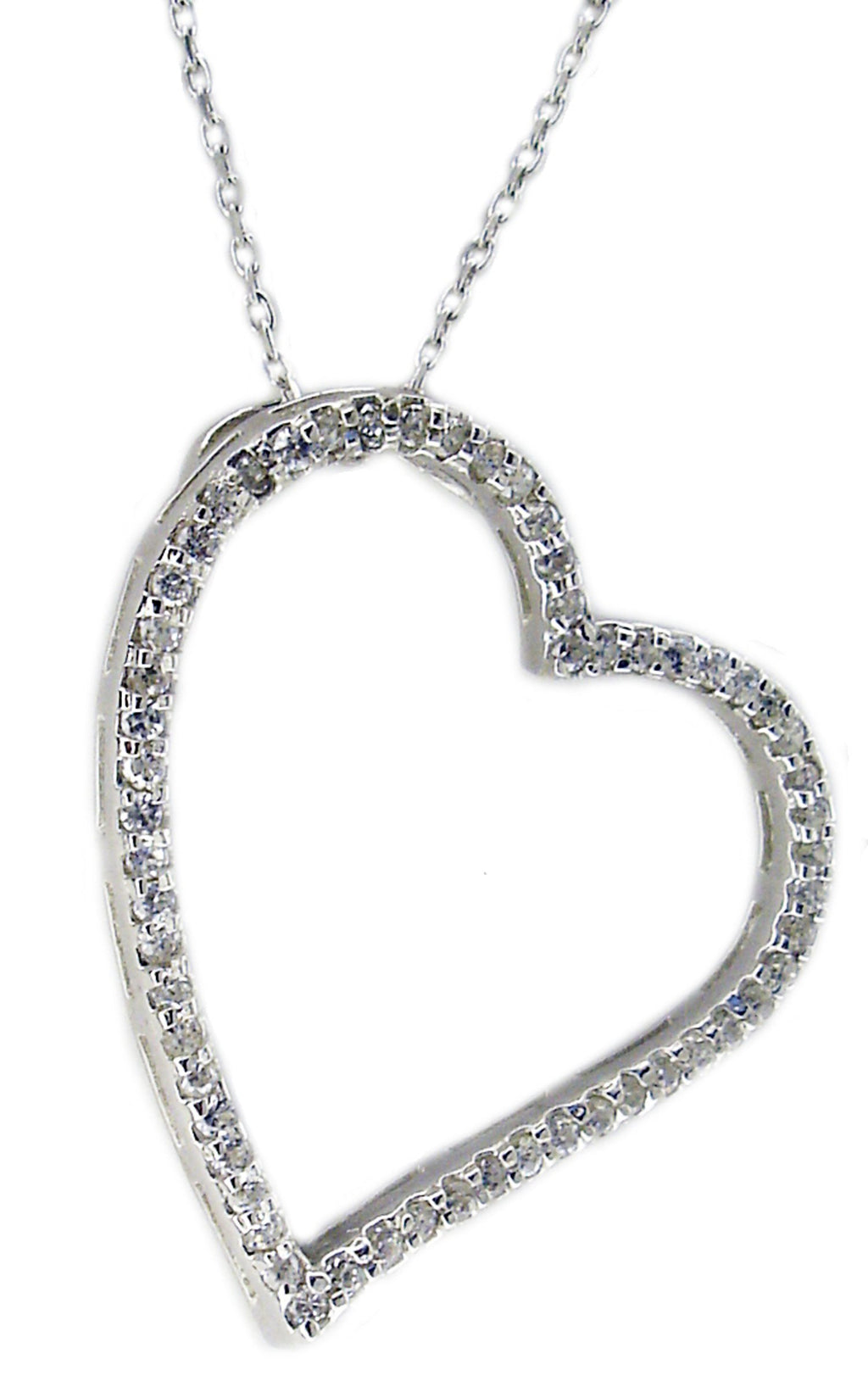 Sideways Sterling Silver Charming Open Heart Pendant completed by brilliant cubic zirconia stones all around