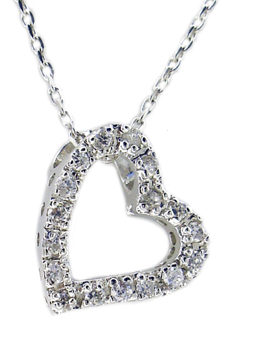 Small Sideways Sterling Silver Charming Open Heart Pendant completed by brilliant cubic zirconia stones all around