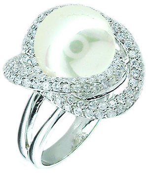 Mop center Pave Cz Around in Sterling silver Ring