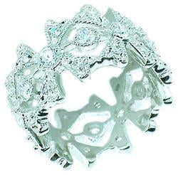 Zirconite Cubic Zirconia Flowers Sterling Sterling Silver Ring