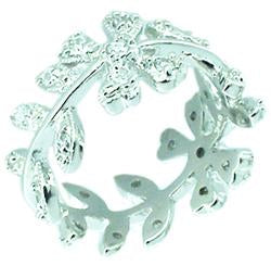 Zirconite Cubic Zirconia Flower Sterling Sterling Silver Ring