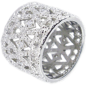 Ring Wide Pave in S/S