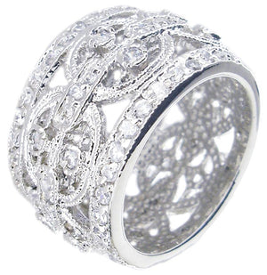 Wide Pave Cz Ring Band