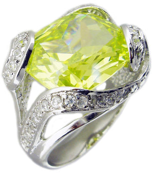 Ov Color Cz Pave Around in  Sterling silver Ring