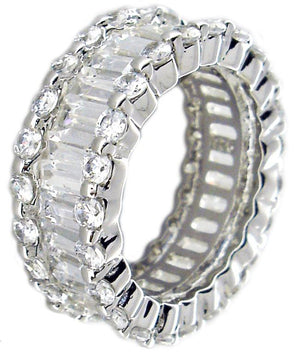 Zirconite Cubic Zirconia Baguettes Eternity Band Sterling Silver Ring