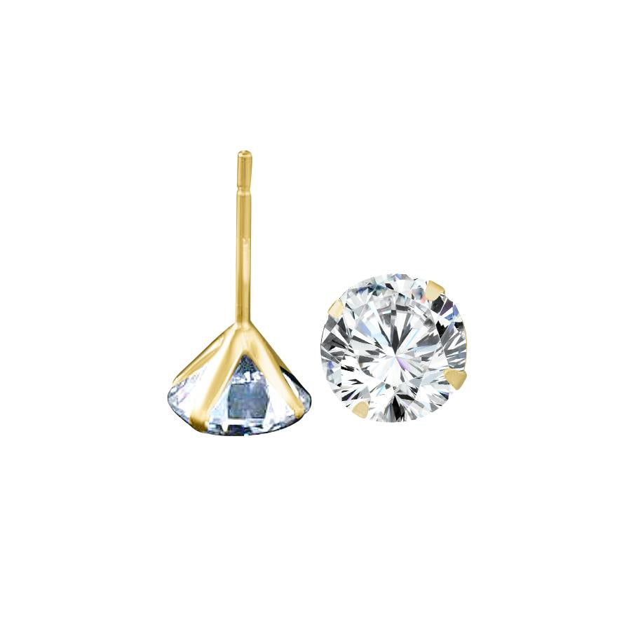 14K solid Gold set with Cubic Zirconia - Martini Snap light Settings Stud Earrings