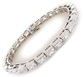 4mmx4mm Square  Zirconite Cubic Zirconia Channel set Sterling silver hinged  w/Rhodium plate Tennis Bracelet