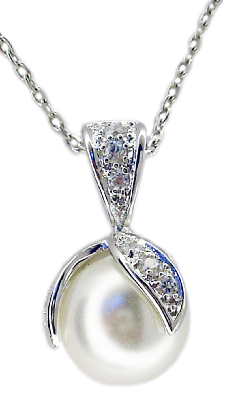 Pave Leaves with Pearl Pendant in S/S Rhodium