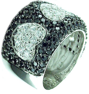 Ring Wide Pave Band in S/S