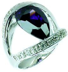 10X14 Pear shape Cz Sterling silver Ring