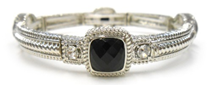 Classic Textured Satin Electroplate Stretch Bangle with 4-faceted Cushion Square stone stations.