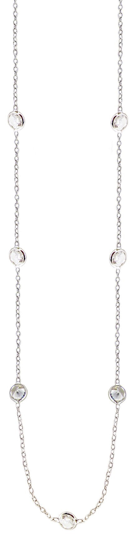 Diamond By the Yard 10 station round bezel set cubic zirconia w/a 16''+2'' Sterling silver fine chain ZBYX10-16/18