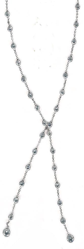 "Zirconite Cubic Zirconia Stations 30"" Lariat 14K Gold Necklace"