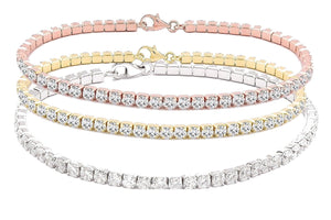 CLASSIC BRILLIANT 4-PRONGS 3MM (5CT) ROUND ZIRCONITE CUBIC ZIRCONIA STERLING SILVER TENNIS BRACELET. 715B300