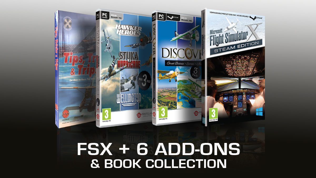 FSX Full Game plus 6 Add-ons plus FSX Book Collection