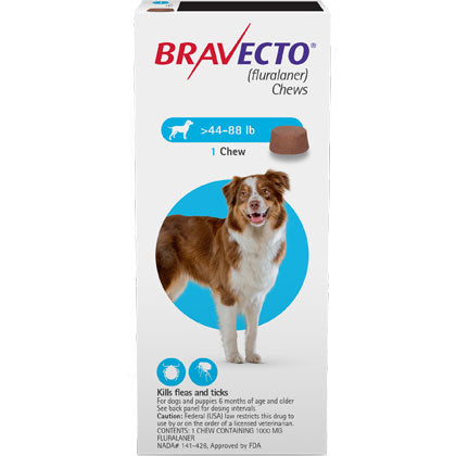 Bravecto Chewable 1000mg Dogs 44.1-88 lbs