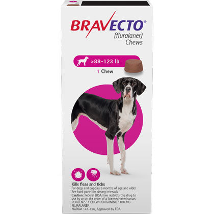 Bravecto Chewable 1400mg Dogs 88.1-123 lbs