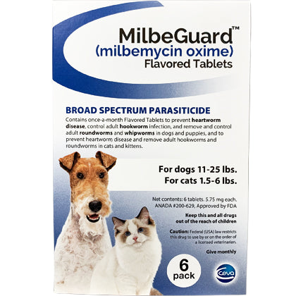 MilbeGuard Chewable Dogs 11-25 lbs / Cats 1.5-6 lbs (generic Interceptor)