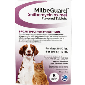 MilbeGuard Chewable Dogs 26-50 lbs / Cats 6.1-12 lbs (generic Interceptor)