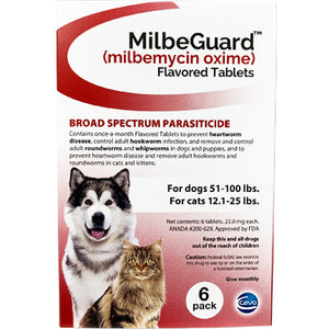 MilbeGuard Chewable Dogs 51-100 lbs / Cats 12.6-25 lbs (generic Interceptor)