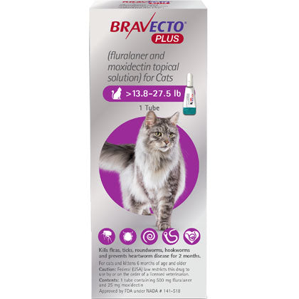 Bravecto+ Topical Solution Cats 13.8-27.5 lbs