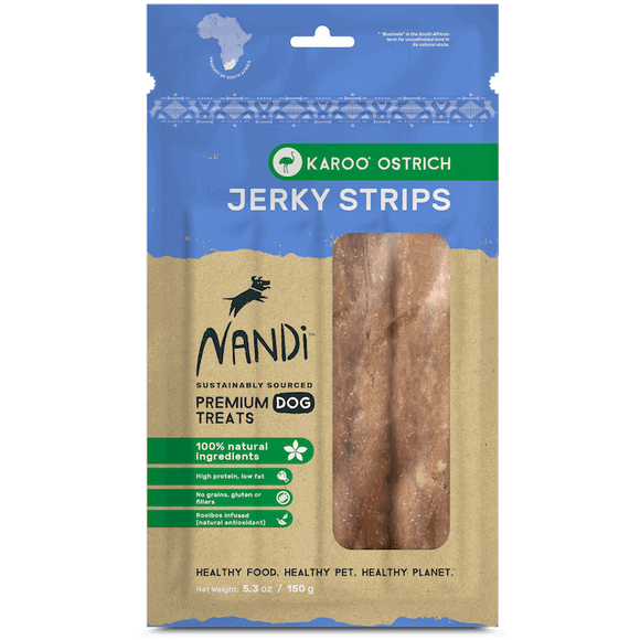 Nandi Ostrich Jerky Strip Treats 5.3oz