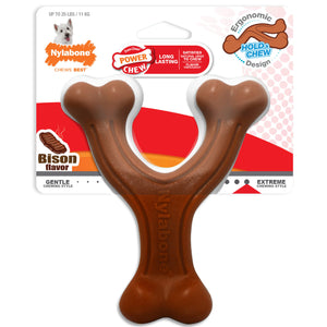 Nylabone Power Chew Wishbone Ergonomic Hold & Chew Bison Flavored