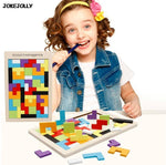 Colorful wooden tangram brain teaser puzzle toy