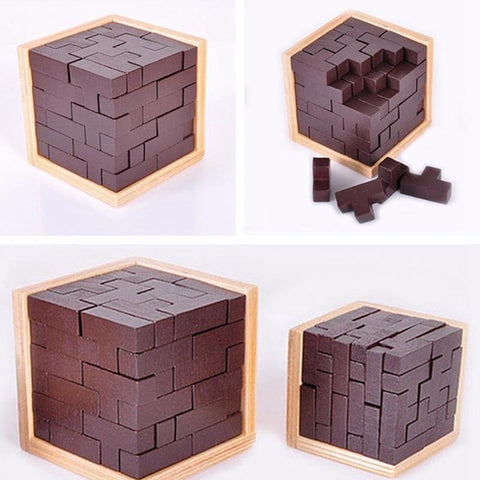 3D Puzzle Wooden Cube Toy , Russia Ming Luban Interlocking Wooden Game Toy to improve IQ Brain for Kid Educational Toy - getittrends