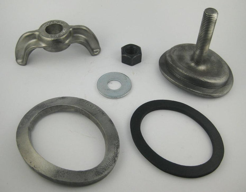 (PHH109CPP) 3 X 4, Forged Steel, Integral Bolt, Elliptical, Curved 9R. Handhole Assembly, with Patch Plate.