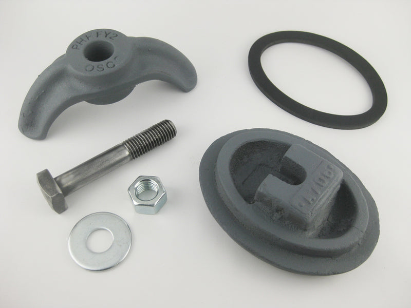 "(PHHA706C) 3-1/2"" x 5"",  Elliptical,  Cast Iron, Loose bolt, ""A706"". Handhole Assembly, Less Ring."