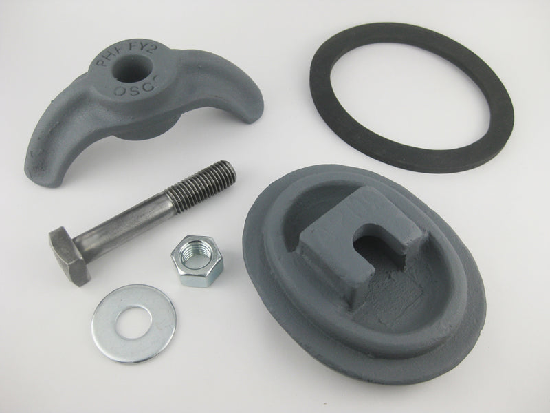 "(PHHA709C) 3-3/4"" x 5"",  Elliptical,  Cast Iron, Loose bolt, ""A709"". Handhole Assembly, Less Ring."