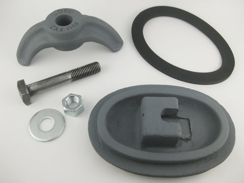 "(PHHA713C) 4"" x 6-1/2"",  Elliptical,  Cast Iron, Loose bolt,  ""A713"". Handhole Assembly, Less Ring."