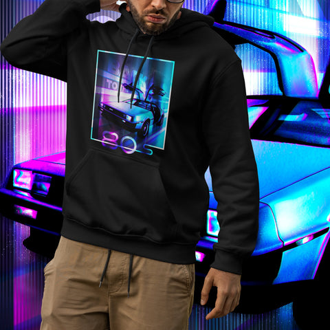 Delorean. Men's hooded sweatshirt