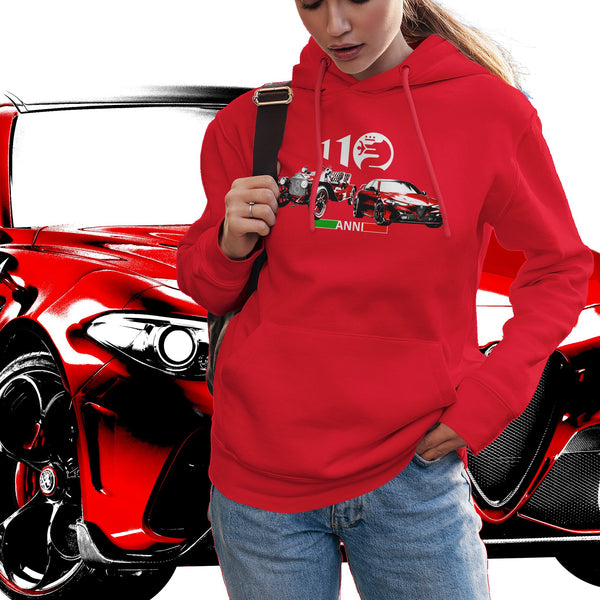 Alfa Romeo 110 years. Women's hooded sweatshirt