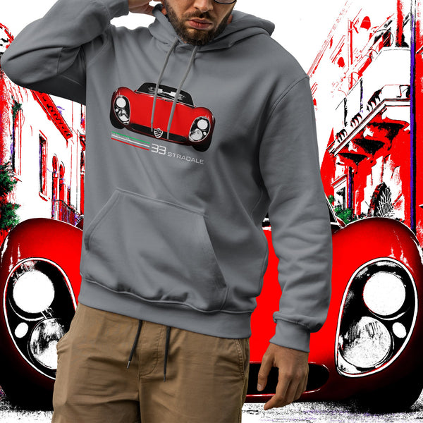 Alfa Romeo 33 Stradale. Men's hooded sweatshirt