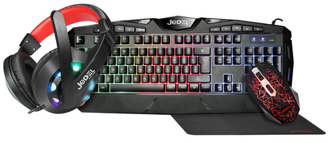 Jedel Knights Templar Elite 4 in 1 RGB Gaming Set - Keyboard And Mouse With Headset & XL Mouse Mat