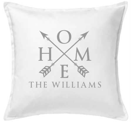 Home and Arrows Pillow- White